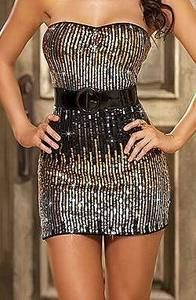 Ladies Sequin Cocktail Strapless Party Mini Dress 8 10 12 Clubwear Sequin Strapless Mini Dress Unique ombre sequin strapless dress, patent leather belt and matching thong. May need a top underneath as it is see through in the light Please note this is extremely short and sexy #partydressesclubwear