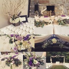 Amazing rustic wedding with purples, feathers and antlers Antler Wedding, Rustic Wedding, Renewal Wedding, Purple Wedding, Antlers, Wedding Events, Feathers, Floral Design, Table Decorations