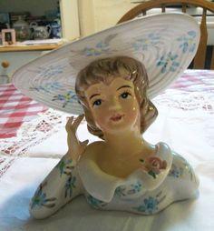 Lady Head Vase Southern Belle Vintage Planters, Vintage Vases, Vintage China, Ceramic Lady Heads, Two Heads, Porcelain Ceramics, Ceramic Vase, Head Planters, Head Shapes