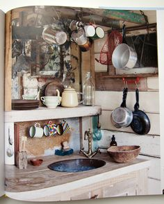 Homes - Bristol House - Kitchen sink and hanging untensils Rustic Outdoor Kitchens, Rustic Kitchen, Country Kitchen, Summer Kitchen, Kitchen And Bath, Kitchen Sink, Bristol Houses, Shed Decor, Home Decor