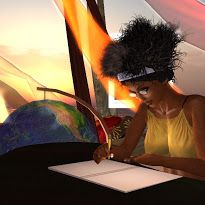 Dahlia Jayaram records information about her day's flight in her journal while at her Dahlia's Journey Garden Gallery in Lenora, Second Life.