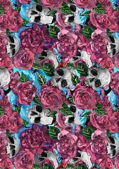 skulls and roses pattern by Caryor Design