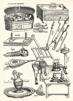 C Kitchen equipment: Italy; from Opera di M. Bartolomeo Scappi: cuoco secreto de Papa Pio V