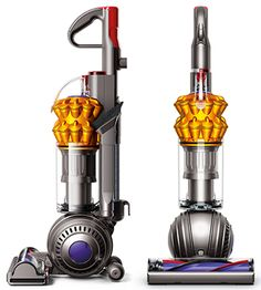 Front and side view of Dyson Ball Compact Multi Floor upright vacuum cleaner. Iron colour with purple two-tier cyclone pack.