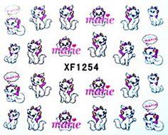 Nagelsticker water transfer XF 1254, rosa, Katze, Restposten, Sticker, Marie