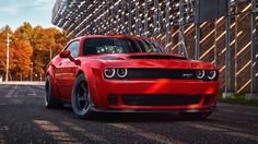 2018 Dodge Challenger SRT Demon Unveiled At The New York Auto Show, Based On The Challenger Hellcat, Production To Commence This Summer Dodge Demon Challenger, 2018 Dodge Demon, Dodge Hemi, Dodge Charger, Supercars, Porsche 911 Gt3, Red Sports Car, Automobile, Us Cars