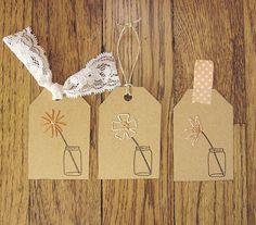 Flower jar gift tag DIY embroidery kit