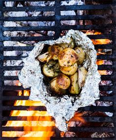"Sami Naffziger collected 25 recipes to share in the list ""Campsite Cuisine"". Recipes such as ""Campfire Potatoes"" and ""Bacon S'mores! Campfire Potatoes, Campfire Food, Bbq Potatoes, Campfire Recipes, Yukon Potatoes, Roasted Potatoes, Open Fire Cooking, Cooking Tips, Cooking Recipes"