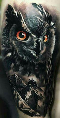 f896270a8 Owl Skull Tattoos, Deer Tattoo, Eagle Tattoos, Wolf Tattoos, Leg Tattoos,