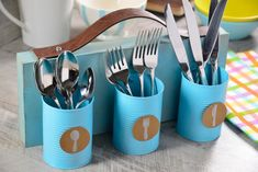 How to make a cutlery holder Diy Crafts Hacks, Diy Home Crafts, Diy Arts And Crafts, Diy Crafts Videos, Creative Crafts, Diy Crafts To Sell, Diy Projects, Cutlery Holder, Tin Can Crafts