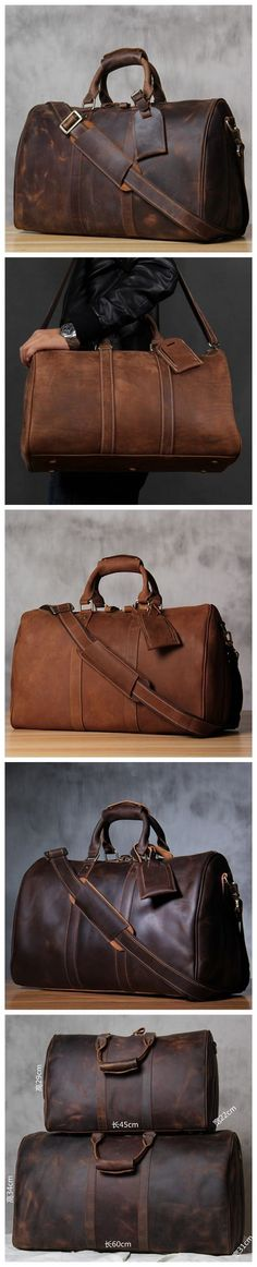 Handmade Extra Large Vintage Full Grain Leather Travel Bag, Duffle Bag, Holdall…
