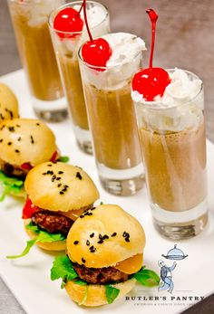 Try serving mini milkshakes and cheeseburgers for a 'late night snack' at an evening event! Guests are sure to enjoy the bite size treat...