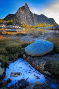 Frozen puddle near Gnome Tarn and Prusik Peak in the Enchantment Lakes area of Alpine Lakes Wilderness, Washington