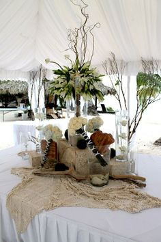 beach wedding food table decoration. blessed for having great decorators!