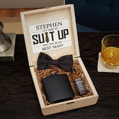 Drake Blackout Custom Cigar Humidor Groomsmen Gift Box Set How awesome! – Checkout this inexpensive custom groomsmen gift set, it comes with everything you need including the card! just add your liquor bottles and you're done. Groomsmen Gifts Unique, Groomsmen Gift Box, Be My Groomsman, Groomsmen Proposal, Bridesmaids And Groomsmen, Groomsman Gifts, Groomsmen Invitation, Groomsmen Flask, Unique Gifts