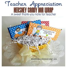 10 Teacher Appreciation Candy Bar Wraps for Hershey Bars, Small & Giant-Teacher will Love them  #TeacherAppreciation #CandybarWraps