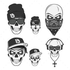 Set of Vintage Rap Skulls for Tattoo — Photoshop PSD #art #style • Available here → https://graphicriver.net/item/set-of-vintage-rap-skulls-for-tattoo/14835555?ref=pxcr