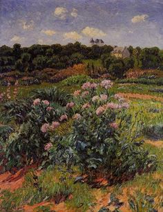 Le Jardin, huile sur toile de Henri Moret (1856-1913, France)