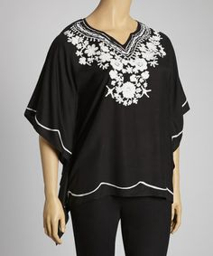 Take a look at this Black & White Embroidered Flower Cape-Sleeve Top - Plus by Luv2Luv on #zulily today!