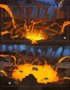 Lavalands by Sidxartxa on DeviantArt 2d Game Background, Background Drawing, Cartoon Background, Fantasy Art Landscapes, Fantasy Landscape, Environment Concept, Environment Design, Cave Drawings, Landscape Concept
