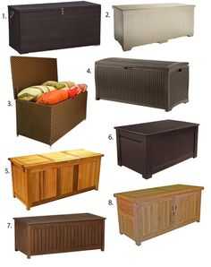 Why haven& I thought of this? Outdoor Storage: Chests That Double as Benches. I am tired of looking at toys all over our back patio even in the dumb plastic storage containers we have. Pool Storage, Table Storage, Small Storage, Outdoor Storage, Storage Chest, Storage Containers, Patio Storage Bench, Patio Furniture Cushions, Outdoor Seat Cushions