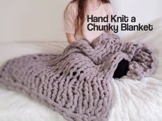 Easy Chunky Hand-Knitted Blanket in One Hour : 9 Steps (with Pictures) - Instructables Chunky Yarn Blanket, Hand Knit Blanket, Knitted Blankets, Chenille Blanket, Finger Knitting, Arm Knitting, Easy Yarn Crafts, Stocking Pattern, Afghan Crochet Patterns
