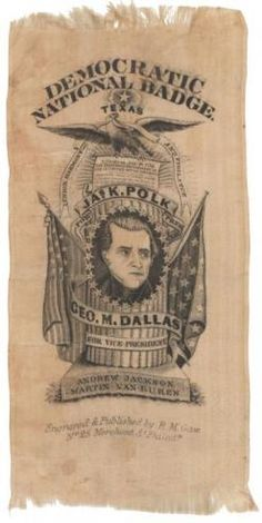 A silk campaign ribbon for James K. Polk from 1844.
