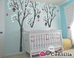 Baby Nursery Wall Decals Birdhouse Trees Decal by WallConsilia