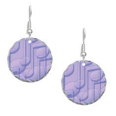 Music in Purple Silver Round Earrings #earrings #music #jewelry #womens #accessories #purple
