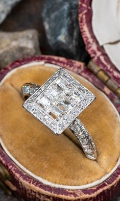 Vintage Multi-Stone Diamond Ring in Platinum 1.77ctw . Sku AR18649 Vintage Engagement Rings, Vintage Rings, Emerald Cut Diamonds, Diamond Cuts, Timeless Fashion, Cuff Bracelets, Stone, Accessories, Jewelry