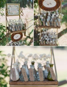 LOVE how this couple used an eclectic display of bud vases with a single sola flower stem in them as favors. So simple and sweet.