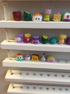 Shopkins Shabby Chic Display Storage Shelf by CactusHillCottage Toy Storage Shelves, Kids Room Shelves, Kids Storage, Hanging Storage, Toy Display, Display Shelves, Shopkins And Shoppies, Stairway Decorating, Designer Throw Pillows