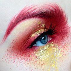 mermaid eye makeup | pink | gold | dramatic | glitter