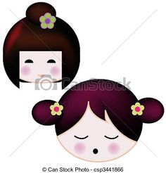 Stock Illustration - Japanese Dol asian girl - stock illustration, royalty free illustrations, stock clip art icon, stock clipart icons, logo, line art, pictures, graphic, graphics, drawing, drawings, artwork