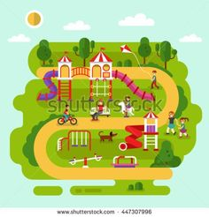 stock-vector-flat-design-vector-summer-landscape-illustration-of-park-with-kids-playground-and-equipment-with-447307996.jpg (450×470)