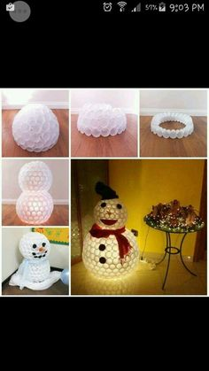 Snowman made from cups