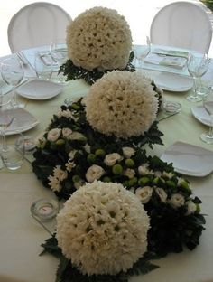Spheres for table~ Church Flower Arrangements, Wedding Arrangements, Table Arrangements, Wedding Centerpieces, Wedding Table, Floral Arrangements, White Wedding Flowers, Floral Wedding, Modern Floral Design