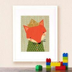 Petit Collage - schilderij vos op houtSchilderij vosvan Petit Collage is gedrukt op mooidun hout. Deze prachtigeprint op esdoorn fineer hout is gedrukt met een natuurvriendelijke verf zonder schadelijke stoffen.