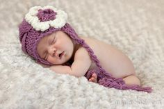 Newborn Baby Girl Hat   Knit Baby Hat With Flower  by effybags, $19.50
