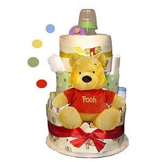 Check out Winnie The Pooh Diaper Cake (2 Tier) - Low Priced Baby Showers Accessories and Decorations from Wholesale Party Supplies