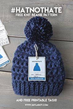 Free Knit Beanie Pattern for Beanie Knitting Patterns Free, Knit Beanie Pattern, Beginner Knitting Patterns, Loom Knitting, Free Knitting, Knitting Projects, Crochet Patterns, Hat Patterns, Knitting For Charity
