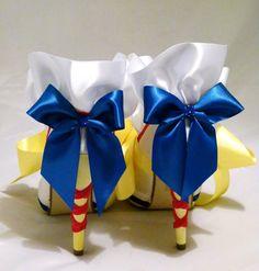 White Satin Bridal Shoes Disney Snow White Inspired Design  Wedding Bridesmaid Bride.