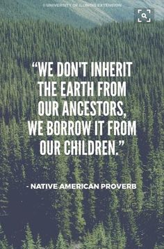 """""""We don't inherit the earth from our ancestors, we borrow it from our children."""" – Native American Proverb Day """"We don't inherit the earth from our ancestors, we borrow it from our children. Life Quotes Love, Great Quotes, Quotes To Live By, Me Quotes, Inspirational Quotes, Irish Quotes, Wisdom Quotes, Peace Quotes, Sassy Quotes"""