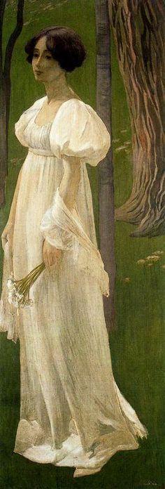 Paintings by Swiss Artist Ernest Bieler Lady in White 1898
