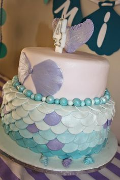 Mermaid cake in purple and turquoise