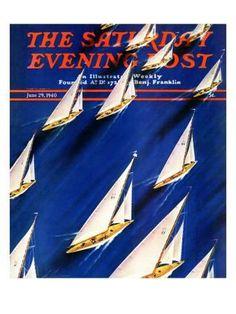 """Sailboat Regatta,"" Saturday Evening Post Cover, June 29, 1940 Giclee Print by Ski Weld at Art.com"