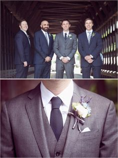 gray and navy groom looks #groomstyle http://www.weddingchicks.com/2013/11/18/new-england-wedding/
