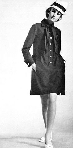 Model is wearing a creation of Yves Saint Laurent.  Revue Magazine,Collections Autumn / Winter 1967