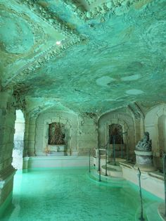 piscine de la Villa Vizcaya, Miami, construite en 1916, pour l'industriel James Deering, turquoise pâle