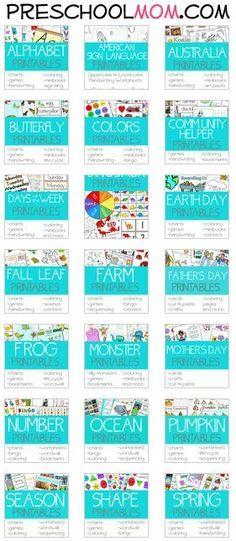 30+ Free Preschool Printables Themes